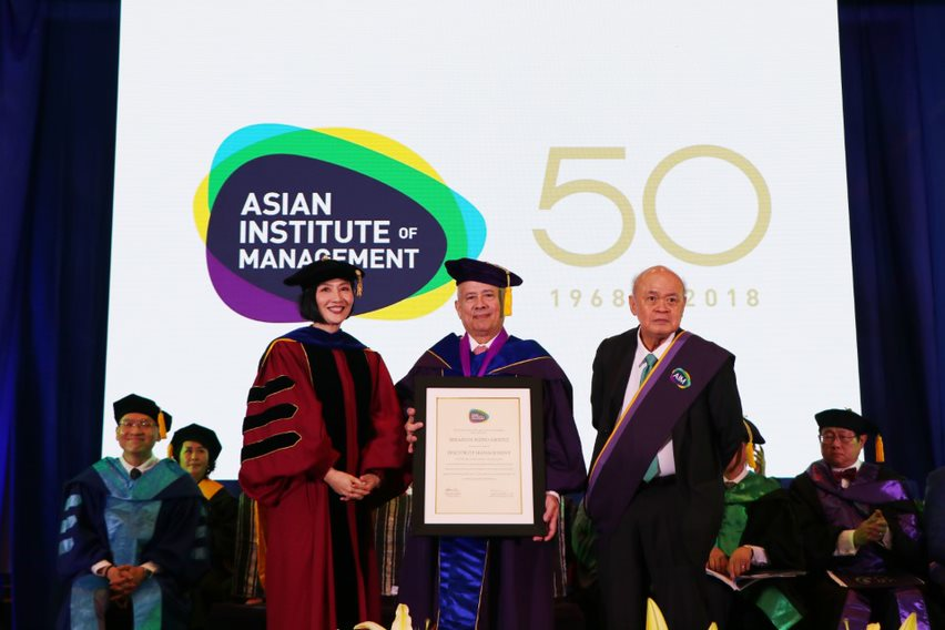 Jikyeong Kang, Ph.D., Erramon Isidro Aboitiz, and Mr Peter Garrucho, Jr., OBE, during the Awarding of Honorary Doctoral Degree