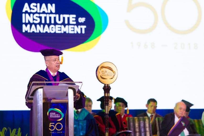 Mr. Erramon Isidro Aboitiz delivering the Commencement Address